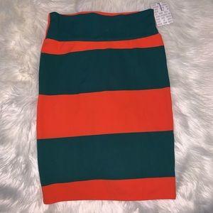 LuLaRoe Cassie Orange/Green Striped Skirt NWT Sz L